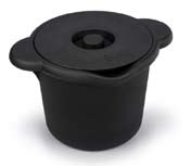 סל קרח עגול שחור עם מכסה Ice Bucket with lid